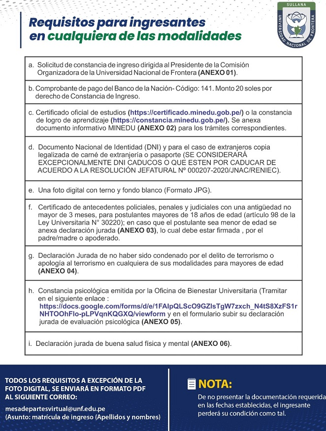 REQUISITOS DE INGRESANTES 2020 I Y 2020 II